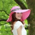 Summer Wide Brim Straw Beach Hat For Women Floppy Sunbonnet Hats Female Free Shipping SDDS-033