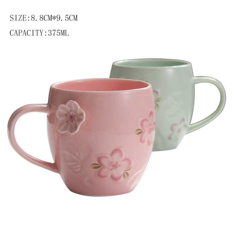 375ML Sculpture Cherry Blossoms Ceramic Lovely Cafe Milk Coffee Mug Joyous  Garden Afternoon Tea Cup Lovers Teacup Christmas Gift In Mugs From Home U0026  Garden ...