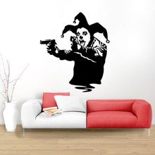Clown Guns Wall Decal Banksy Style Poster Street Art Graffiti Mural Removable Vinyl With Gun Sticker AY1622