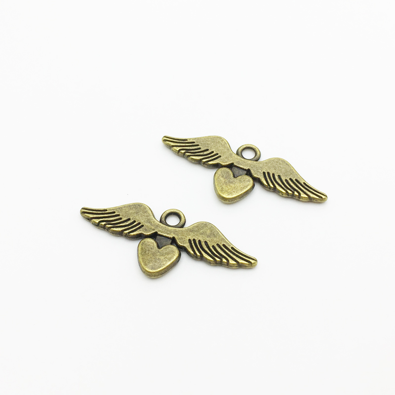 20pcs/lot New 14*34mm Lovely Hearts Angel Wings Charms Pendants Bronze Zinc Alloy Trendy Pendants Fit Jewelry Making image
