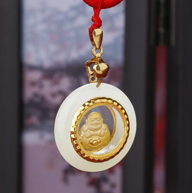 China Good luck Carved Kwan-yin Natural Hetian white jade pendant Buddha amulet