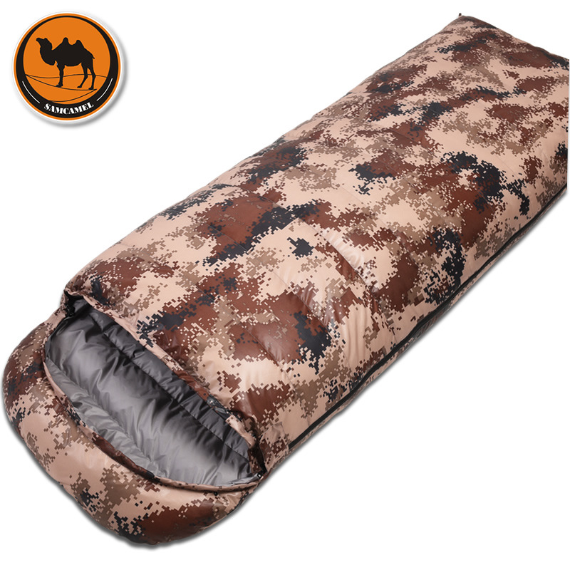 Desert camouflage & digital camouflage duck down envelope sleeping bag outdoor adult camping lunch sleeping bag new brand envelop outdoor couple lover family camping sleeping bag adult three season indoor lunch break sleeping bag 2 1kg