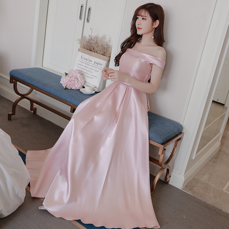 Pink Bridesmaid Dress Satin Sleeveless Long Dress Off The Shoulder Wedding Party Dresses For Women Back Of Bandage