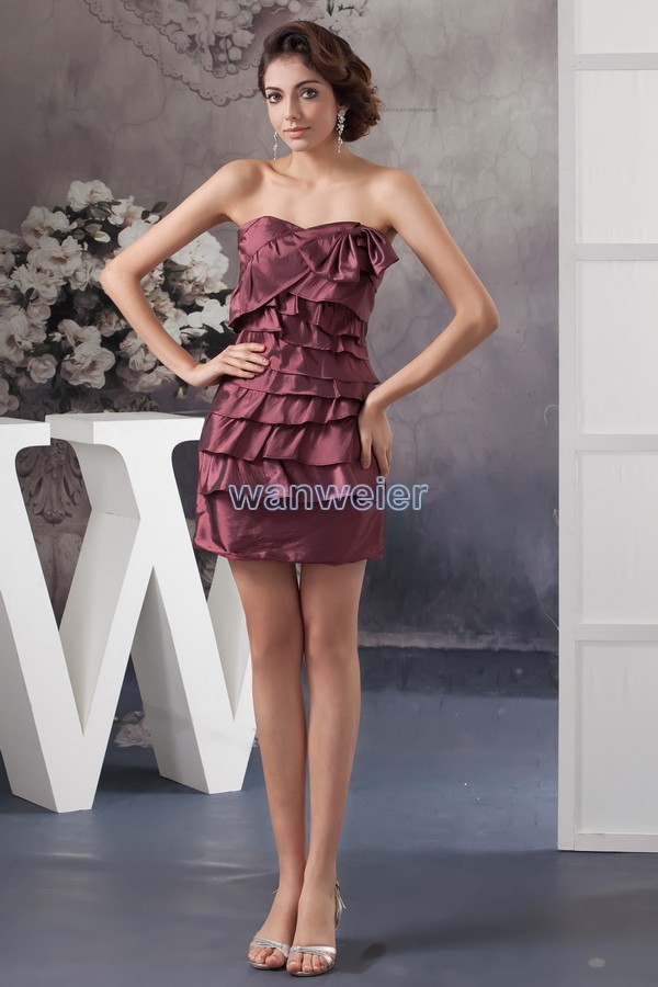 free shipping 2014 new design hot sale formal   dresses   custom size/color Cheap In Stock pleat real photo short   Cocktail     Dresses