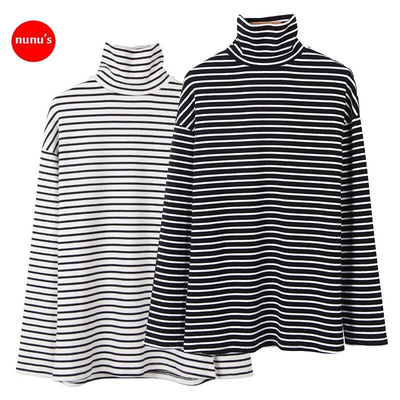 New Striped T Shirts Women Loose Long Sleeve T-shirt Black White Womens Female Fashion Korean Style School Students Females T18