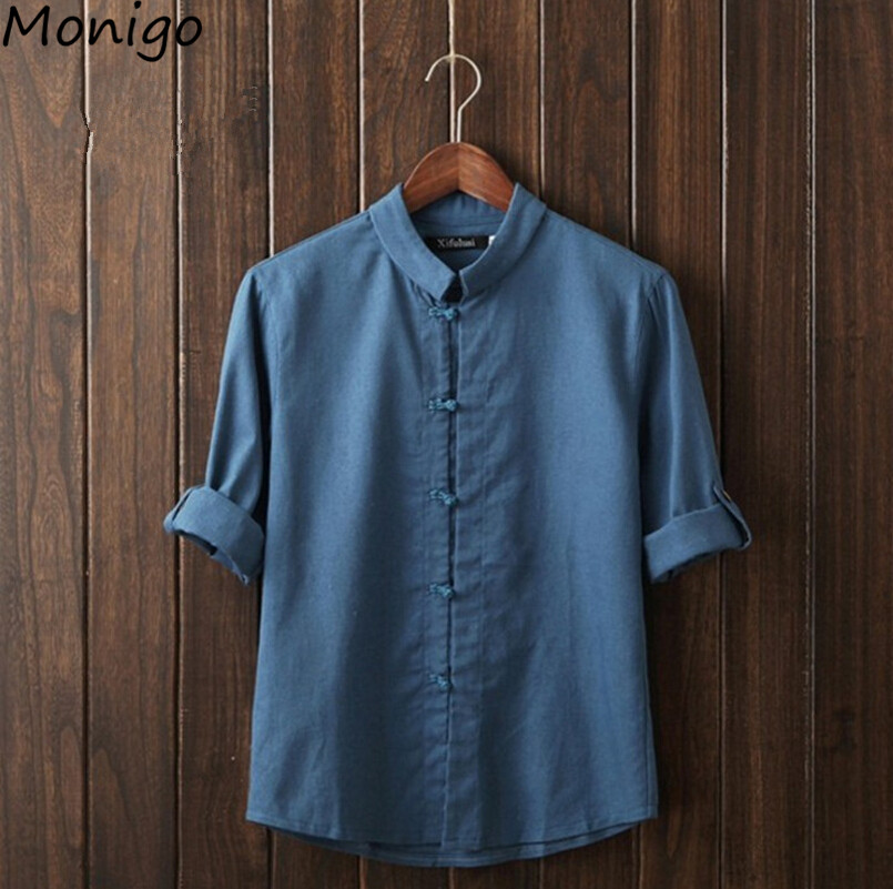 Fashion Traditional Chinese Garments Men's T-shirt Chinese-style Costume Tang Suit Cotton Linen Tree Quarter Short Sleeve Tee