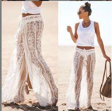 Pantalones de verano de mujer Sexy de encaje playa cubrir pantalones de cintura alta
