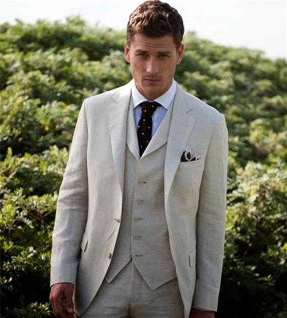 2017 Latest Coat Pant Designs Beige Custom Casual Wedding Suits For Men Groom Beach 3 Pieces Masculino Jacket+Vest+Pants 574