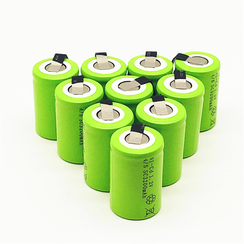 10/12/15PCS 4/5SC 1.2V Rechargeable Battery 3200mAh 4/5 SC Sub C Ni-CD Cell With Welding Tabs For Electric Drill Screwdriver
