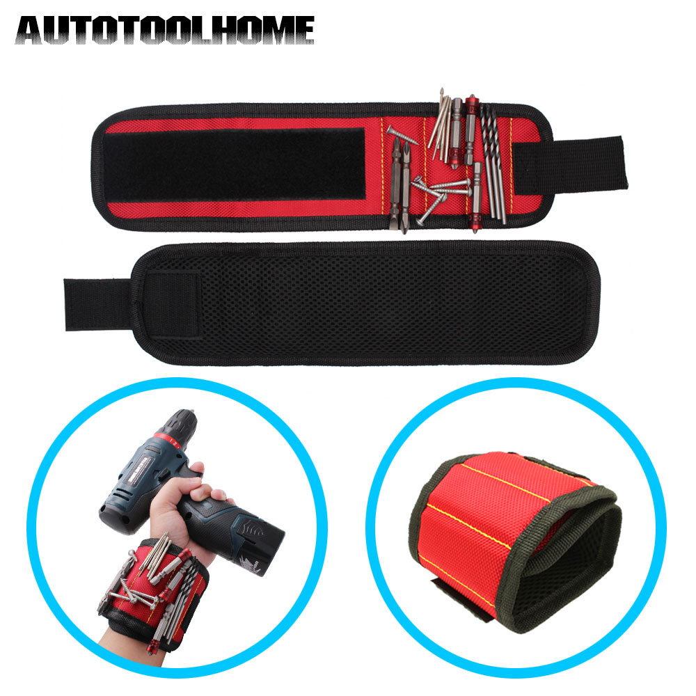 Polyester Magnetic Wristband Portable Tool Bag Electrician Wrist Tool Belt Screws Nails Drill Bits Holder Holding Repair Tools jm x4 components adsorption bracelet powerful magnetic wristband hold small metal nuts washers screws nails jakemy
