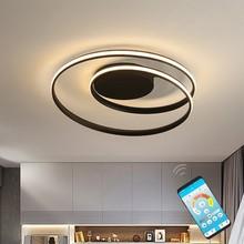 แหวนสีดำโมเดิร์นโคมไฟระย้าLEDโคมไฟสำหรับห้องนั่งเล่นRemote Homeห้องนอนโคมไฟโคมไฟเพดานวงกลมLuster