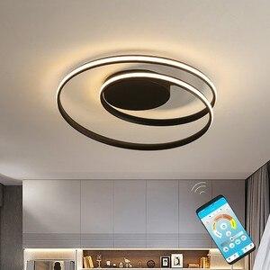 Image 1 - Siyah halka Modern LED avize lamba oturma odası için uzaktan ev yemek odası ışıkları fikstür tavan daire parlaklık