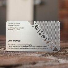 Cartão de visita de aço inoxidável luxuoso dos pces 100 com logotipo do recorte e cor preta do ponto em calendários, planejadores & cartões