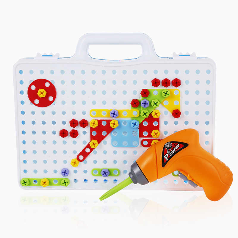 Kids Drill Toys Creative Electric Drill Screws Puzzle Assembled Mosaic Design Building Toys Pretend Play Educational Toy for Boy