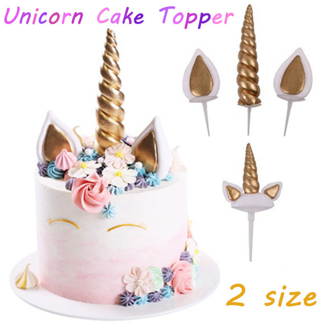 US $1 59 20% OFF|Unicorn Cake Toppers Unicornio Horn Ears Cake Decorations  Cupcake Toppers Baby Birthday Party Decorations Baking Tools Cake Tool-in