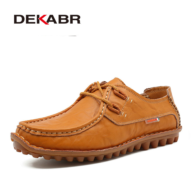 DEKABR Luxury Brand Handmade Men Casual Shoes Fashion Split Leather Men Shoes Comfortable Breathable Men Summer Shoes Flats new summer breathable men genuine leather casual shoes slip on fashion handmade shoes man soft comfortable flats lb b0009