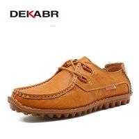 DEKABR Luxury Brand Handmade Men Casual Shoes Fashion Split Leather Men Shoes Comfortable Breathable Men Summer