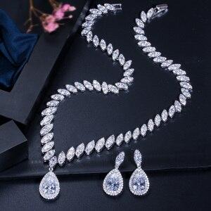 Image 4 - Pera CZ Luxury Bridesmaid Accessories Cubic Zirconia Stone Big Bridal Wedding Pera Cut Dropping Jewelry Sets For Women J048
