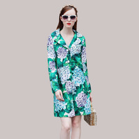 Newest Green Coats Warm Long Sleeve Fashion 2017 Autumn Winter Hot Sale Luxury Flowers Print Star