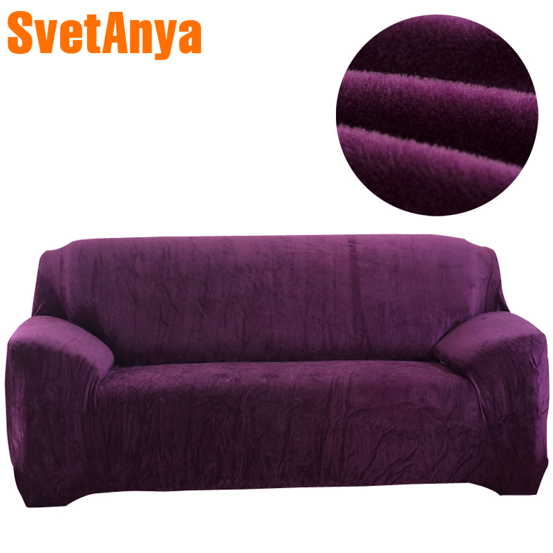 Svetanya warm Fleece Sofa Cover Solid Color Elastic Slipcover for Sectional Sofa Single L Shaped Loveseat Sofa Couch Case