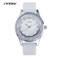 SINOBI Relogio Feminino Luxury Brand White Women Dress Watch Silicone Strap Quartz Watch Diamonds Wristwatches For