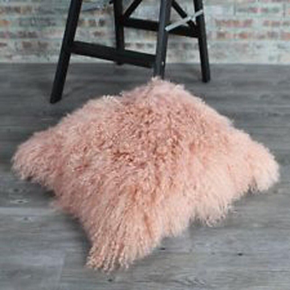 Couverture de coussin de fourrure de mongolie rose clair couverture de coussin de fourrure bouclée pour canapé maison taie d'oreiller coussins décor à la maison Funda Cojin Cojines