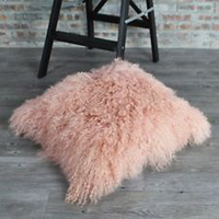 Light Pink Mongolian Fur Pillow Cover Curly Fur Cushion Cover Decorative Throw Pillows For Sofa Home Pillow case Almofadas New