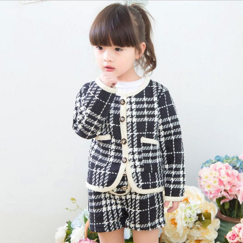 Autumn Baby Girl Clothes Sets Children Clothing Sets Plaid Coat + Shorts Toddler Winter Warm Costume Girls Clothing Set 2-7years fashion brand autumn children girl clothes toddler girl clothing sets cute cat long sleeve tshirt and overalls kid girl clothes