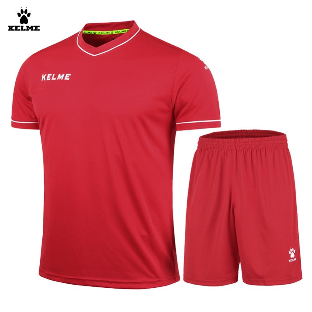 Terno dos homens de manga curta com decote em v elástico respirável futebol  kelme k15z204 vermelho a9e7cdf4f29d9