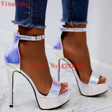platform sandals high heels shoes women ankle strap lace up wedding sexy green snake print pumps
