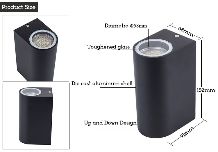 W022 led wall lamp product size detail