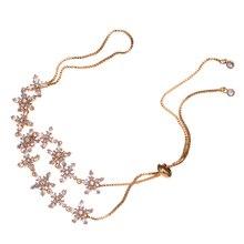 HIBRIDE JEWELRY Elegant Flower Austrian Crystal Adjustable Bracelets Gold Color Women Wedding Bracelets For Gifts B