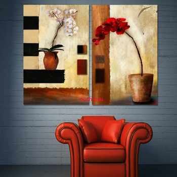 Handmade 2 Panel Wall Art Still Life Modern Flower Oil Painting for Home Decoration Guaranteed 100% Hand Painted Oil Painting
