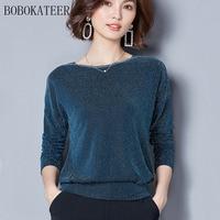 BOBOKATEER O Neck Top Women Casual Black Long Sleeve Tshirt T Shirt T Shirt Women Tops