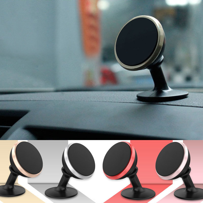 Universal 360 Degree Magnetic Car Dash Desk Mount Holder Mobile Phone Stand with Outlet Clip For iPhone Samsung Huawei Xiaomi