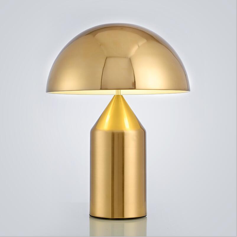 E27 LED D25cm oluce Медь/золото настольные лампы, светильники Гостиная Спальня гостевой комнате прикроватные гриб Золотой настольные лампы Чтение