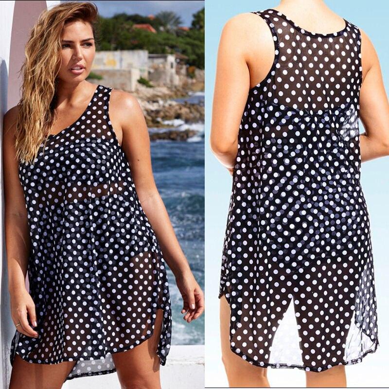 Sexy Women Sheer Chiffon Bikini Cover Up Polka Dot Swimwear Tops plus size XXXL large