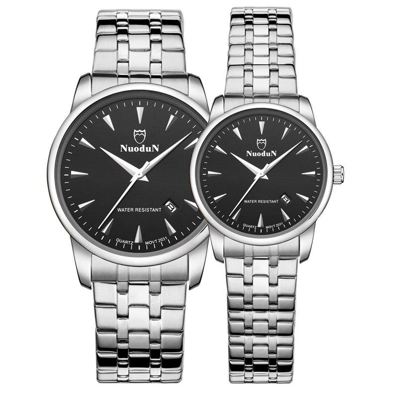 Nuodun Black Mens Fashion Suit Quartz Watch Complete Calendar Waterproof Watch Men Luxury Stainless Steel Brand