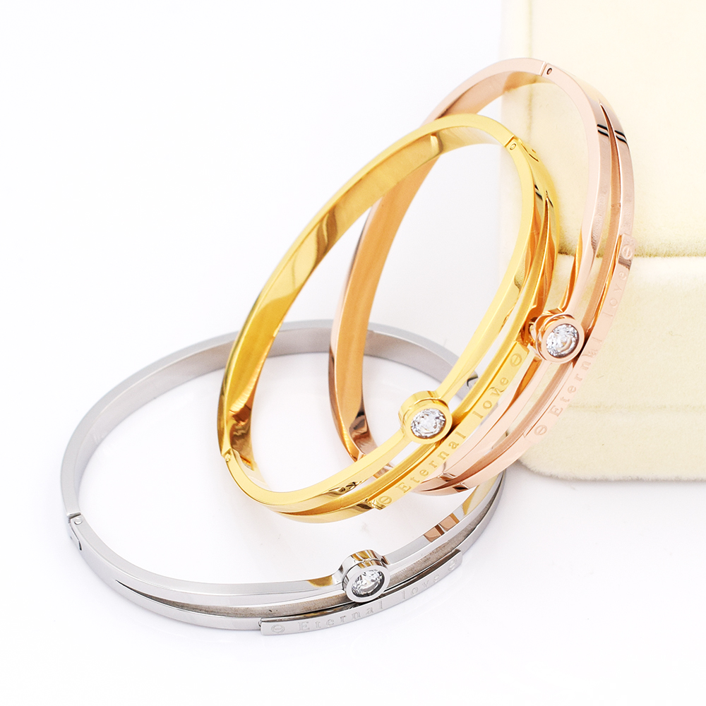 Hot Luxury Brand Love Bracelet Women Stainless Steel Eternal Zircon Bangle Bracelets For Jewelry Whole Bangles