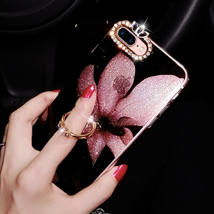 HOCAYU High quality floral lanyard diamond beautiful ring holder phone case for iphone 6 7 8 7plus Mobile Case for Iphone X in Fitted Cases from Cellphones Telecommunications