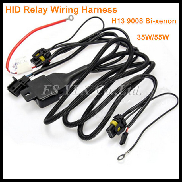 fsylx 12v 35 55w 75w h13 hi lo beam bi xenon relay harness for hid HID Wiring Schematic at 55w Hid Wiring Harness