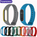 Femperna Colorful Silicone Wrist Strap Smartband Bracelet Double Color Replacement watchband for Xiaomi Miband 2 Mi Band 2
