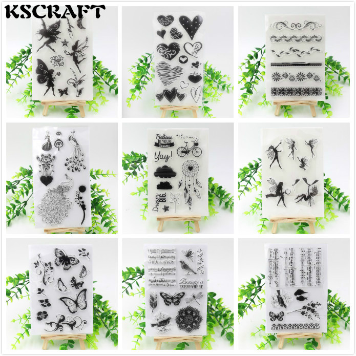 KSCRAFT Flowers Angels Hearts Transparent Clear Silicone Stamp/Seal for DIY scrapbooking/photo album Decorative stamp sheet flowers and lace design transparent clear silicone stamp seal for diy scrapbooking photo album wedding gift cl 083