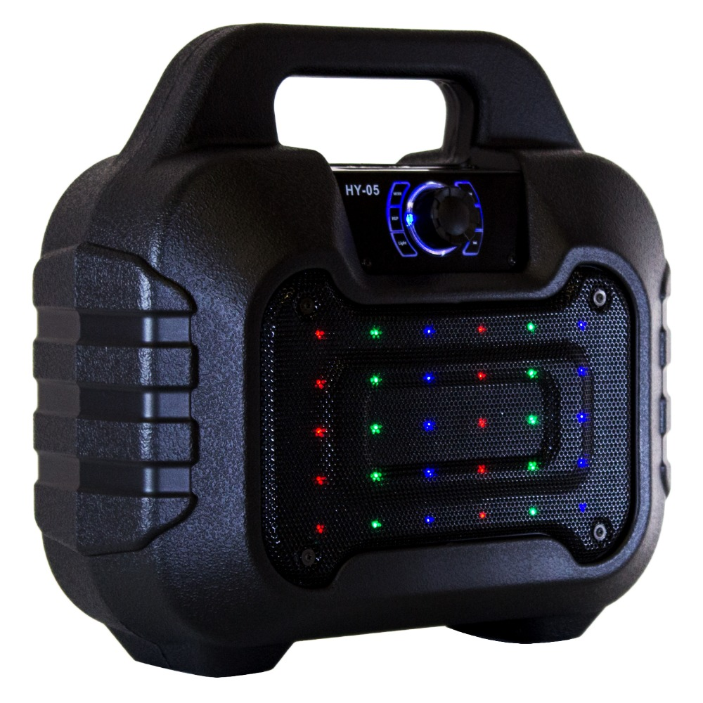 Karaoke Bluetooth Speaker with Wireless Microphone Input FM Radio Portable USB TF Card Rechargeable Flash Light ws 980 car model style portable 2 channel rgb light speaker w fm tf black transparent