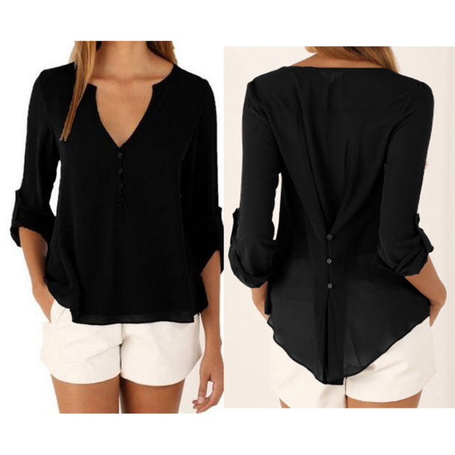 Fashion Women Blouse & shirt Plus Size S-5XL kimon Female long sleeve chiffon blouse Chic Elegant Lady Loose Tops chiffon shirt 3
