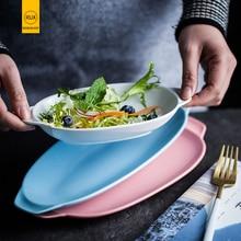 RUX WORKSHOP 6 Color Options European simple solid color plate fruit salad Ceramic Western restaurant steak dish