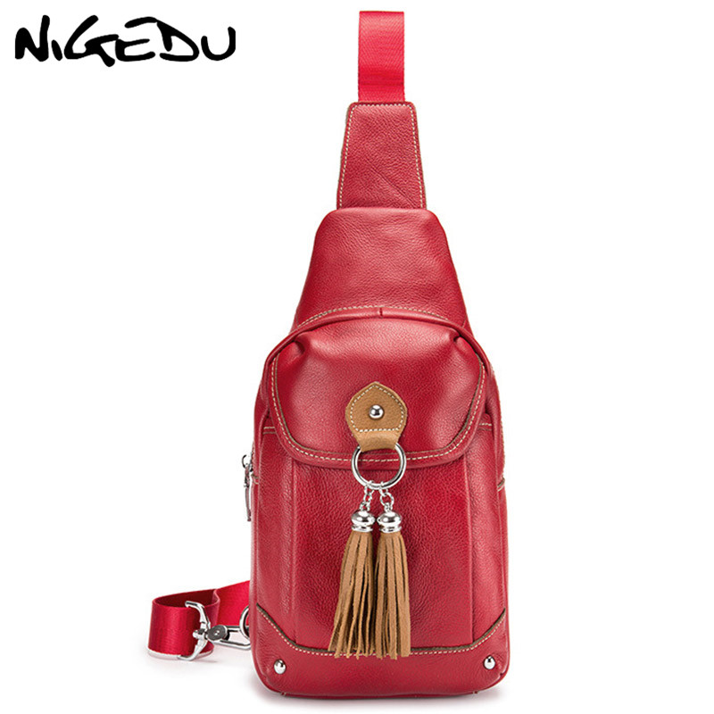 NIGEDU Brand Genuine Leather Women Chest Bag Pack Fashion Tassels Girls Crossbody bag Design Cowhide Women Shoulder Bags 8 Inch