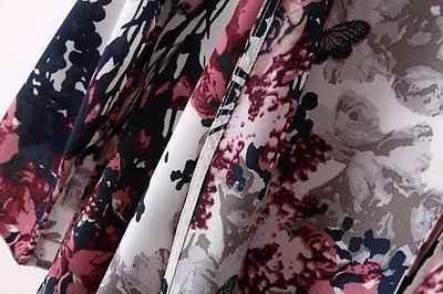 נשים מעיל מעיל קרדיגן קימונו פרחוני Loose Boho שיפון למעלה חולצה 6-14