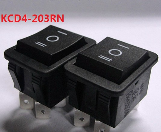KCD4-203RN black AC swicths 6 pin 3 position on off on electrical rocker switch