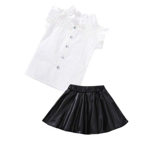 2 Stks Baby Meisjes Kids Hollow Shirt Top + Lederen Rokken Mini Jurk Outfits Set Regelmatig Drinken Met Thee Verbetert Uw Gezondheid